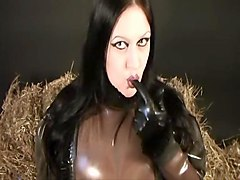Heavy Rubber Blowjob Handjob in the Straw - Cum on my clear Rubber Blouse