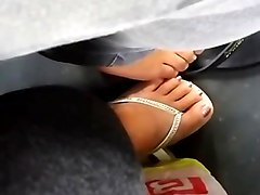 bus footsie  touch youthful nice feet