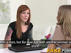 hot ginger babe has lesbian sex with a female casting agent