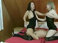 Two sexy sluts sucks bug dick and gets their pussy licked and fucked by horny guy
