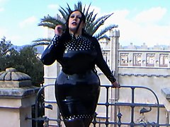The Glamour Latex Diva - Blowjob Handjob on the Roof Terrace in Majorka - Cum in my Mouth