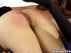 dominant ladyboy spanks and creams a babe