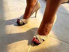 Miss danielle heel with high heels and long toenails