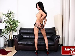 solo ladyboy teases and jerks off sensually