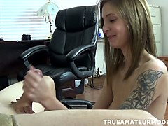 sexy tattooed chick is giving me an awesome pov handjob