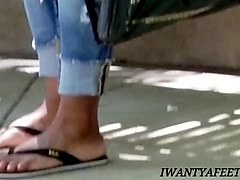 candid ebony feet peach nails