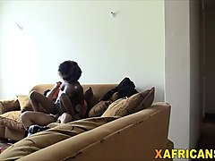african hottie riding long white schlong on couch