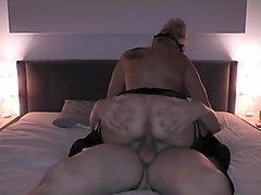 Blonde girl sucking and riding my dick and getting a cumshot on her ass