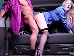 fucked in traffic - sexy british babe fucks chauffeur in the backseat of the car