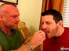 older hairy stud fucks this younger dude until he cums hard