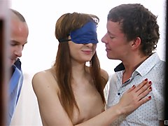 lolla weiss is a blindfolded chick ready for a threesome