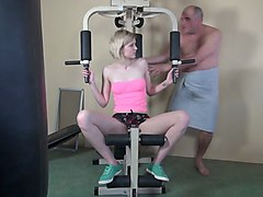 gorgeous doll in gym wants to take and blow that stiff cock and get it between her sexy legs in different poses from this hunk