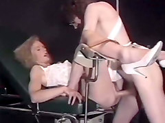 blonde white chick fucked in missionary position on the gyno chair