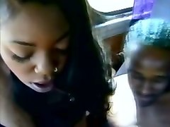 hot young amateur black chick gets in the bus and sucks dick