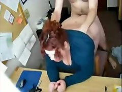 banging red haired co-worker in a doggy position