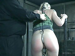 beautiful blonde babe getting caned and hooked in the anus