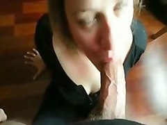 dissolute blonde wife takes my dick in her mouth and gets facial