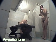 mature white lady in the public shower room recorded on hidden voyeur cam video