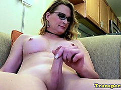 spex shemale solo working on her hard cock