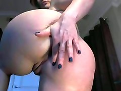 pawg german whore poking her ass with dildo in solo video
