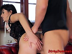 stockinged femdom ass banged from behind
