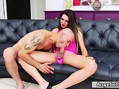 busty latin shemale roberta cortes gives blowjob and analed