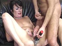 granny and lover play with some dildos then fuck