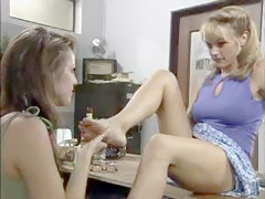 Hot Lesbian Threesome At The Office