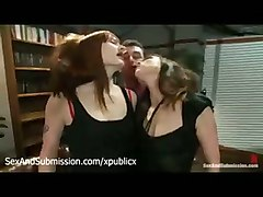 Lesbians Are Made To Oral Sex By Master In Leather Sofa