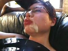 Brunette Loves Sperm And Gets A Lot In A Hat To Drink Up